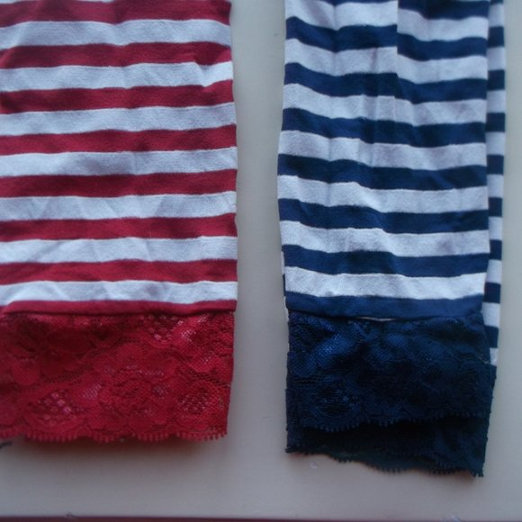 2 Pairs of Striped Footless Tights OS Fits Small
